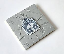Papiernictvo - Puto domova IV- vyšívaná vianočná pohľadnica - 11169936_