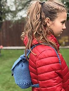 Batohy - batoh háčkovaný oceľovo/ modrý - 11169770_