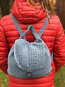 Batohy - háčkovaný oceľovo/modrý batoh - 11169822_