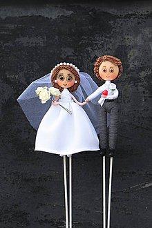 Bábiky - Zápich na tortu - Svadobná dvojica ♥ - 11171294_