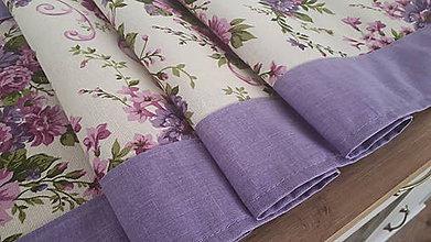 Úžitkový textil - Stredový obrus  (Kytice nna maslovej s fialovou) - 11173259_
