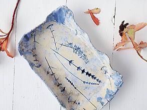 Nádoby - Keramická miska s bylinkami modrá+perleť - 11171751_