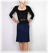 Sukne - Sukně silnější úplet tmavě modrý vz.664  - 11170775_