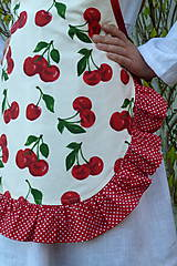 Detské oblečenie - Zásterka Čerešničky s volánom aj bez - 11171234_