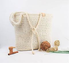 Kabelky - Taška / kabelka háčkovaná Maslová bavlna - 11172290_