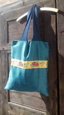 Veľké tašky - Taška INDIGOupcy s folklórnou stuhou - 11171235_