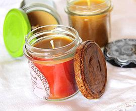 Svietidlá a sviečky - SVIEČKA z včelieho vosku citrón/med (Červená) - 11172166_