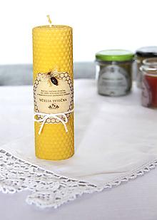 Svietidlá a sviečky - Veľká sviečka z včelieho vosku  (sviečka veľká s ozdobou) - 11172501_