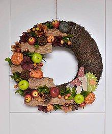 Dekorácie - Jesenný veniec s ježkom - 11173245_