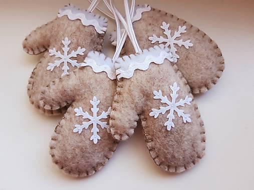 Vianočné rukavičky - bledohnedé