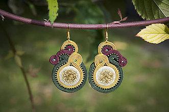 Náušnice - Jesenné slnko - soutache earring -ručne šité šujtášové náušnice - 11171198_