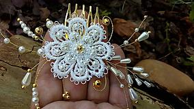 čipkový svadobný hrebienok - ivory + zlatá