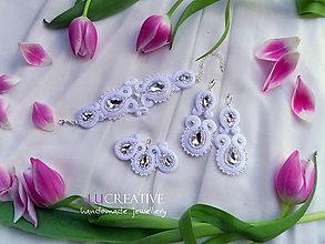Sady šperkov - Sada náušnice, náramok a prívesok Tinka (Biela) - 11170445_