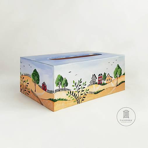 Ručne maľovaný servitkovník s letnou krajinkou