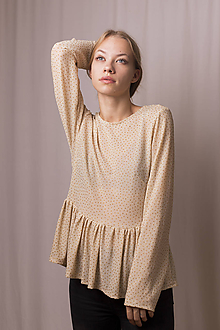 Tričká - Béžove tričko s peplum - 11170576_
