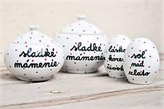 Nádoby - Soľnička + korenička + cukornička s nápisom - 11172638_