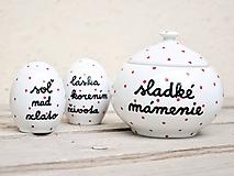 Nádoby - Soľnička + korenička + cukornička s nápisom - 11172650_