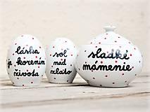 Nádoby - Soľnička + korenička + cukornička s nápisom - 11172653_