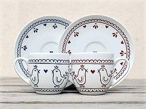 Nádoby - Maľovaná šálka na kávu s podšálkou: Vtáčiky folk/ folklór - 11172712_