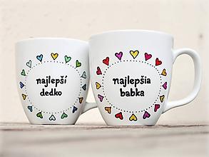 Nádoby - Maľovaný hrnček pre babku a dedka - Srdiečkový - 11172741_