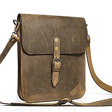 Kabelky - Malá khaki kožená kabelka cez rameno. - 11170868_