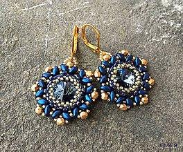 Náušnice - Modro-zlaté Swarovski náušnice - 11172481_