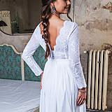 Šaty - Svadobné šaty z elastického tylu s dlhými rukávmi - 11172739_