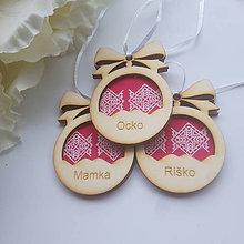 Drobnosti - Vianočné gule Čičmany (drevo+textil) - 11171491_