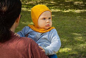 Detské čiapky - Detská merino kukla (Žltá) - 11171637_
