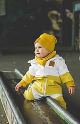 Detské oblečenie - Zimná softshell bunda Double (horčicoá/biela) - 11170161_
