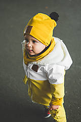 Detské oblečenie - Zimná softshell bunda Double (horčicoá/biela) - 11170162_