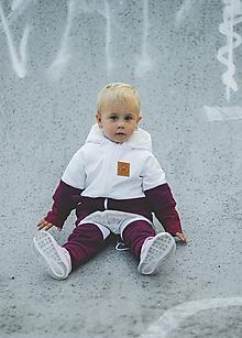 Detské oblečenie - Zimná softshell bunda Double (bordová/biela) - 11170156_