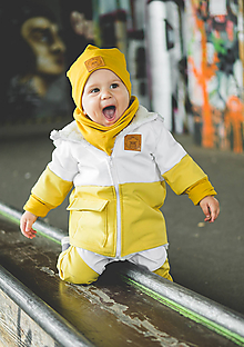 Detské oblečenie - Zimná softshell bunda Double (horčicoá/biela) - 11170160_