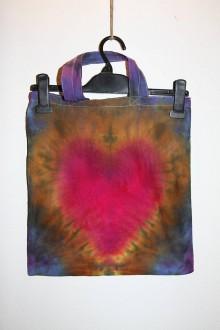 """Nákupné tašky - Batikovaná taška s krátkou rúčkou, """"srdiečko"""" - 11173278_"""