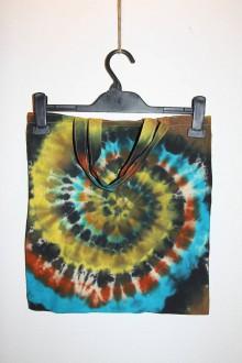"""Nákupné tašky - Batikovaná taška s krátkou rúčkou, """"farebná špirála"""" - 11173279_"""