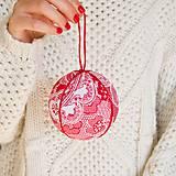 Dekorácie - Vianočné gule červeno-biele - 11173022_