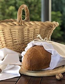 Úžitkový textil - Podšité vrecko na pečivo z ľanového plátna HLADKÉ - 11170467_