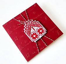 Papiernictvo - Puto domova V- vyšívaná vianočná pohľadnica - 11171916_