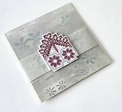 Papiernictvo - Puto domova  VII - vyšívaná vianočná pohľadnica - 11172066_
