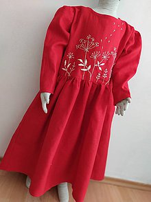 Detské oblečenie - Dievčenské ľanové vyšívané šaty - 11171222_