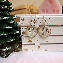 Náušnice - Vianočné náušnice visiace so snehuliakmi, striebro Ag - 11172006_