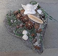 Dekorácie - Spomienkové strieborné srdce s anjelikom - 11174810_