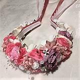 Ozdoby do vlasov - Svadobná parta ružová - 11177326_