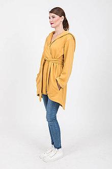Kabáty - Zľava 20% MIESTNY TEPLÝ KARDIGÁN S KOŽÚŠKOM OLA (HORČICOVÝ) - 11173536_