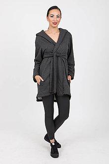 Kabáty - Zľava 20% MIESTNY TEPLÝ KARDIGÁN S KOŽÚŠKOM OLA (ANTRACITOVÝ) - 11173543_