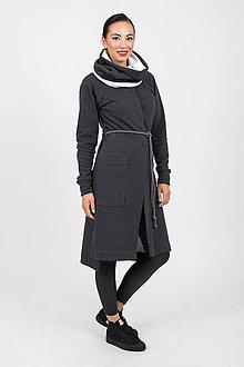 Kabáty - MIESTNY DLHÝ KARDIGÁN MIA S NÁKRČNÍKOM (TMAVOŠEDÝ) - 11173591_