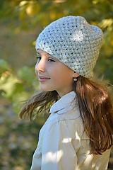 Detské čiapky - šedá s flitry - 11176092_
