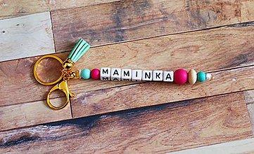Kľúčenky - kľúčenka MAMINKA a brmbolcom (maminka) - 11173778_