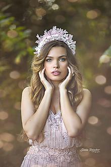 """Ozdoby do vlasov - Čelenková korunka s čipkou """"Svadba v ružovom"""" (Ružová) - 11177319_"""