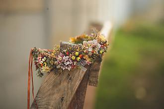 Ozdoby do vlasov - Jesenný kvetinový venček - 11177339_
